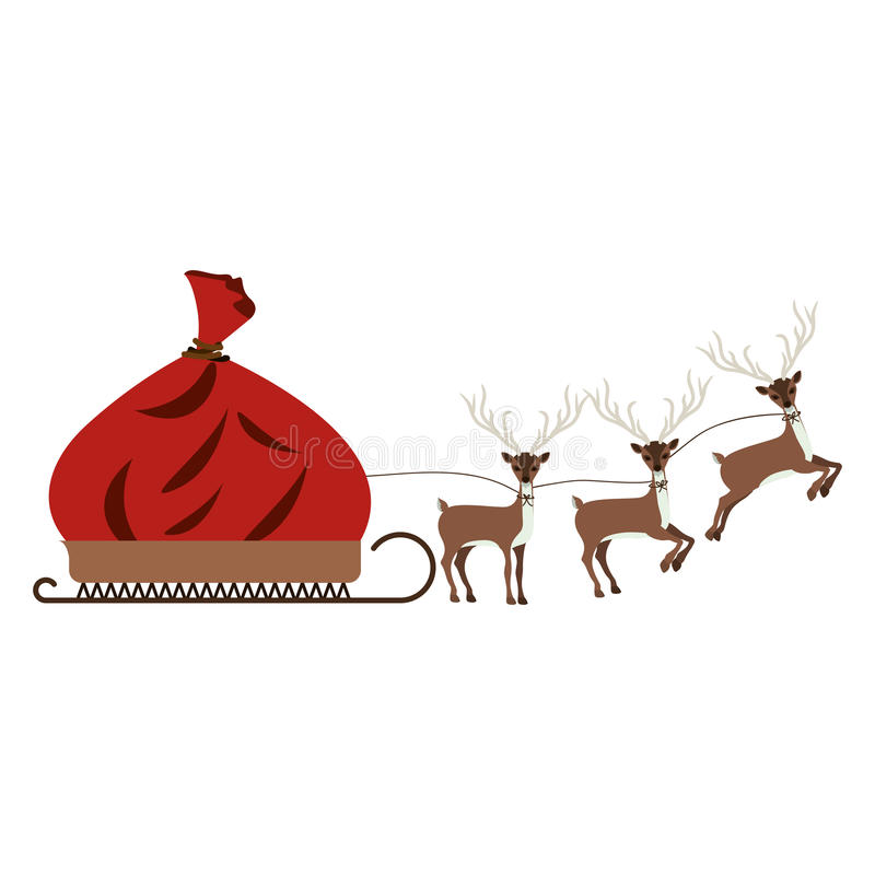 silhueta colorida do trenó com rena ilustração royalty free