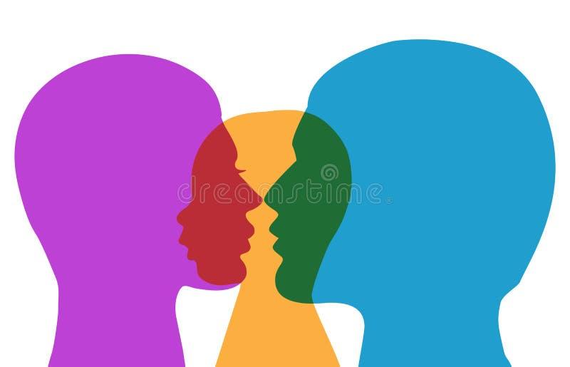 Silhueta colorida do vetor da família ilustração do vetor