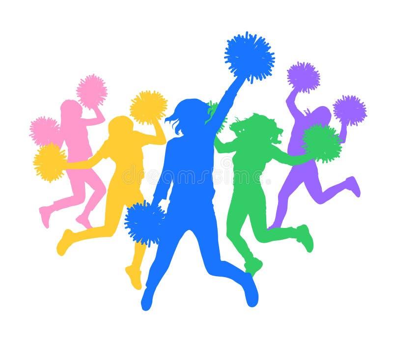 Silhueta colorida dos líder da claque que dançam fãs Ilustração do vetor ilustração royalty free