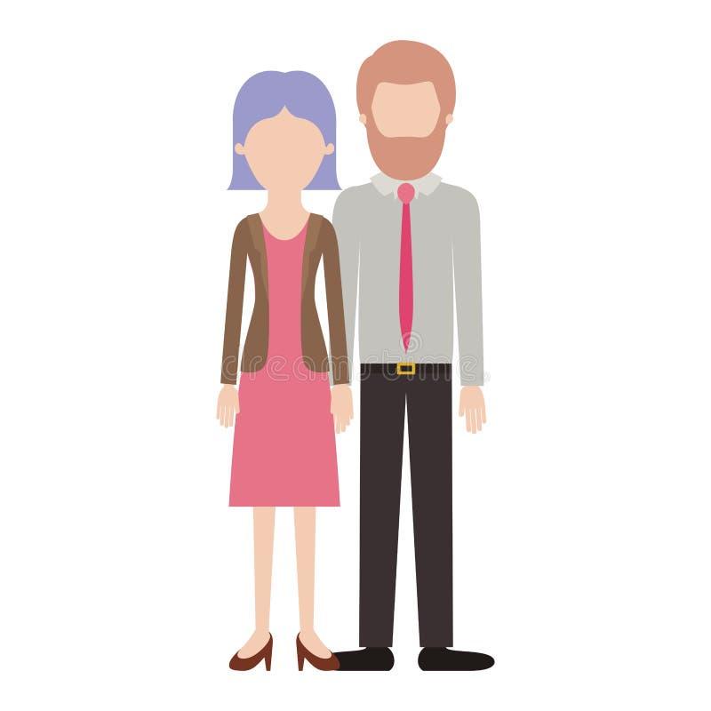 Silhueta colorida dos pares sem cara e seu com as sapatas da blusa e do revestimento e da saia e do salto com reto curto ilustração do vetor