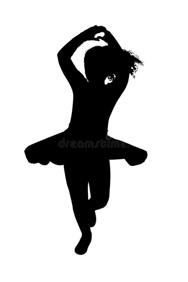 Silhueta com o trajeto de grampeamento da bailarina da criança imagem de stock