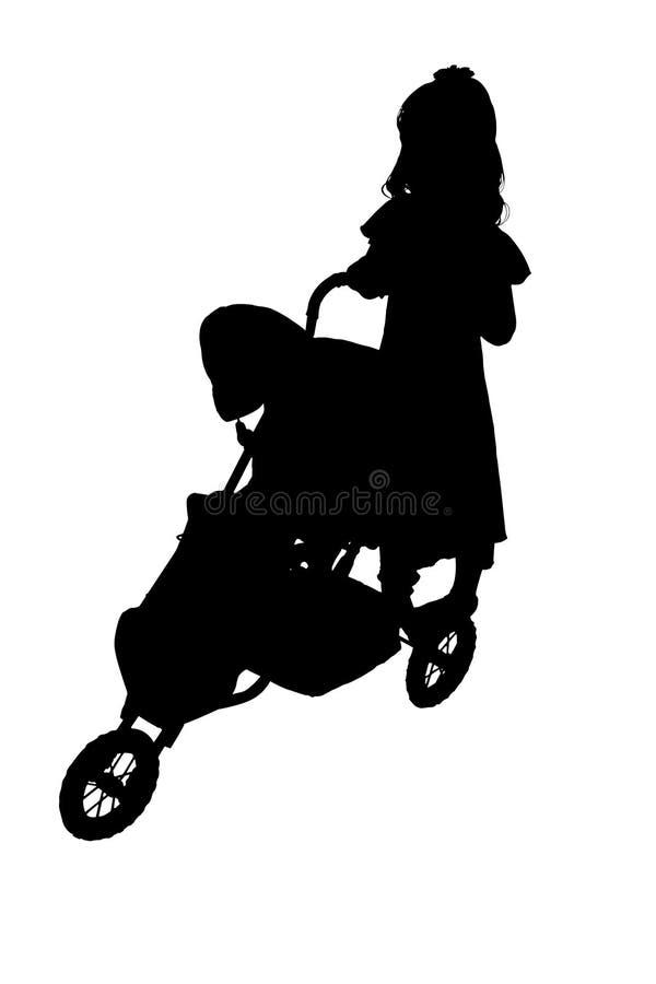 Silhueta com o trajeto de grampeamento da criança com carrinho de criança ilustração stock