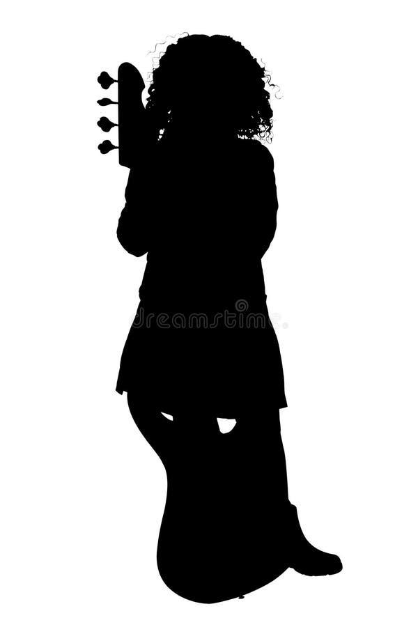 Silhueta com o trajeto de grampeamento da menina com guitarra baixa ilustração royalty free