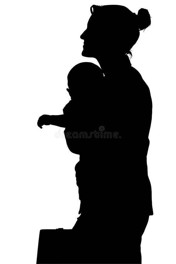 Silhueta com o trajeto de grampeamento da mulher de negócio com bebê fotos de stock