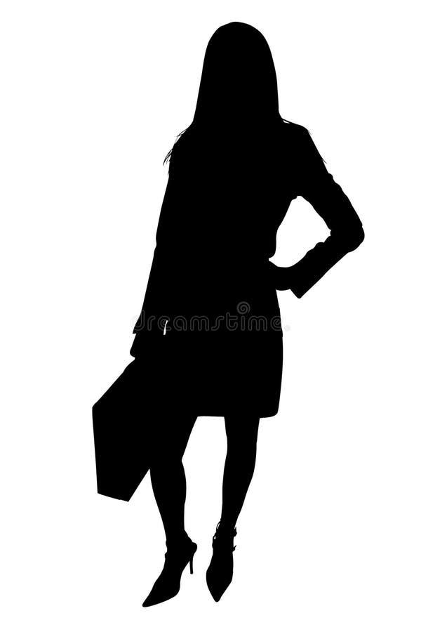 Silhueta com o trajeto de grampeamento da mulher de negócio com pasta ilustração stock