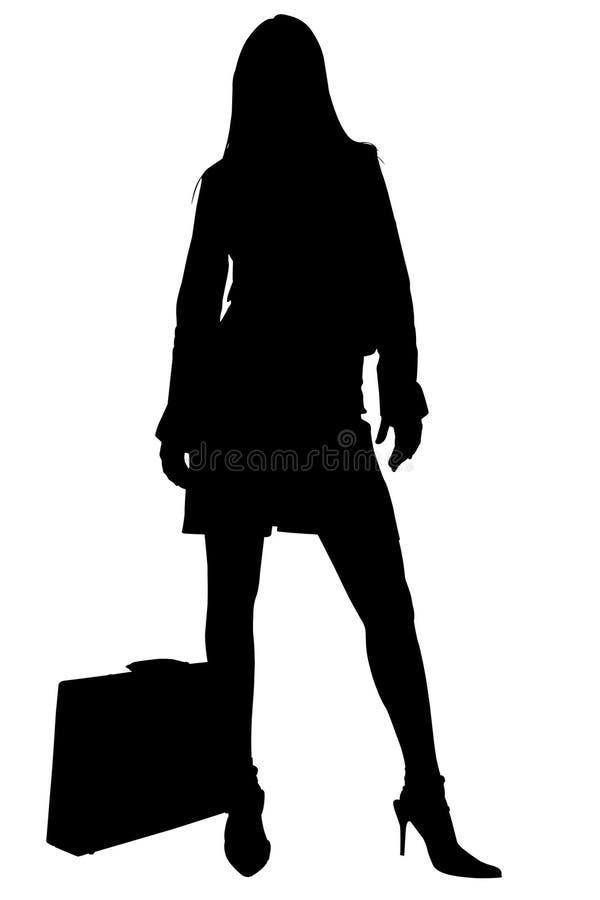 Silhueta com o trajeto de grampeamento da mulher de negócio com pasta ilustração do vetor
