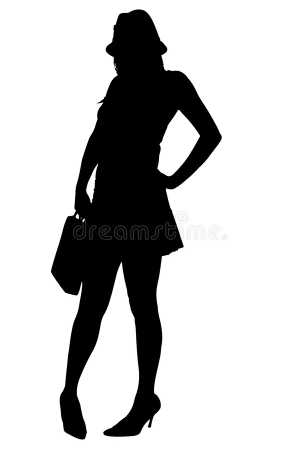 Silhueta com o trajeto de grampeamento da mulher de negócio 'sexy' foto de stock