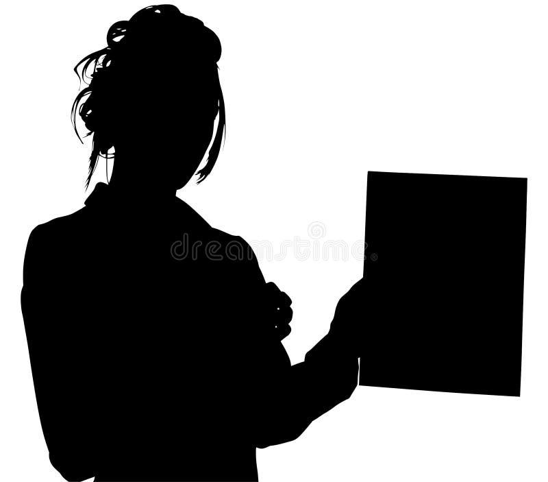 Silhueta com o trajeto de grampeamento da mulher que prende para fora a tabuleta ilustração stock
