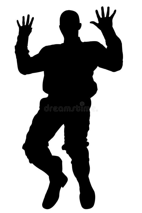 Silhueta com o trajeto de grampeamento da queda do homem ilustração do vetor