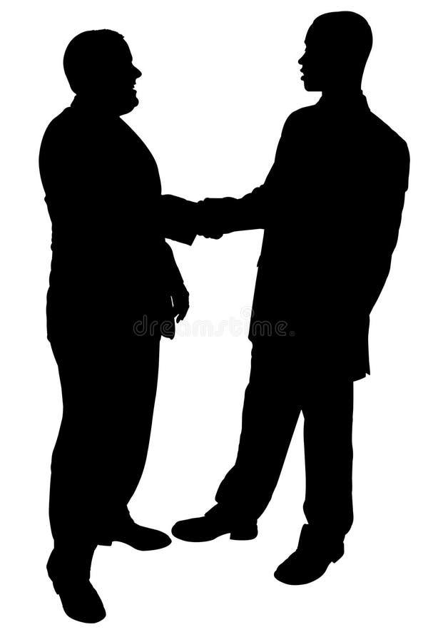 Silhueta com o trajeto de grampeamento de dois homens de negócios que agitam as mãos