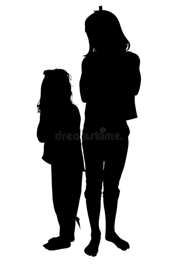 Silhueta com o trajeto de grampeamento de duas meninas pequenas que olham cada um ilustração do vetor