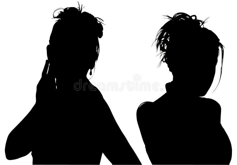 Silhueta com o trajeto de grampeamento de duas mulheres foto de stock royalty free
