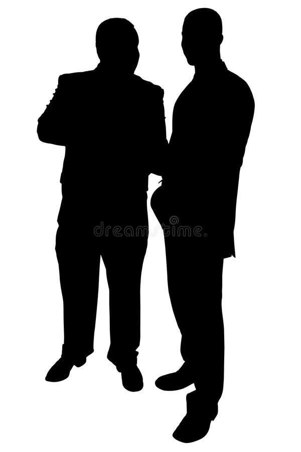 Silhueta com o trajeto de grampeamento de uma fala de dois homens de negócios ilustração royalty free