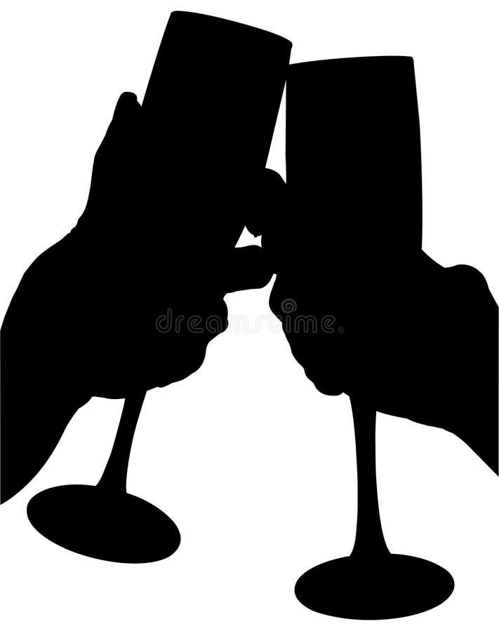 Silhueta com o trajeto de grampeamento do brinde fêmea das mãos imagens de stock royalty free