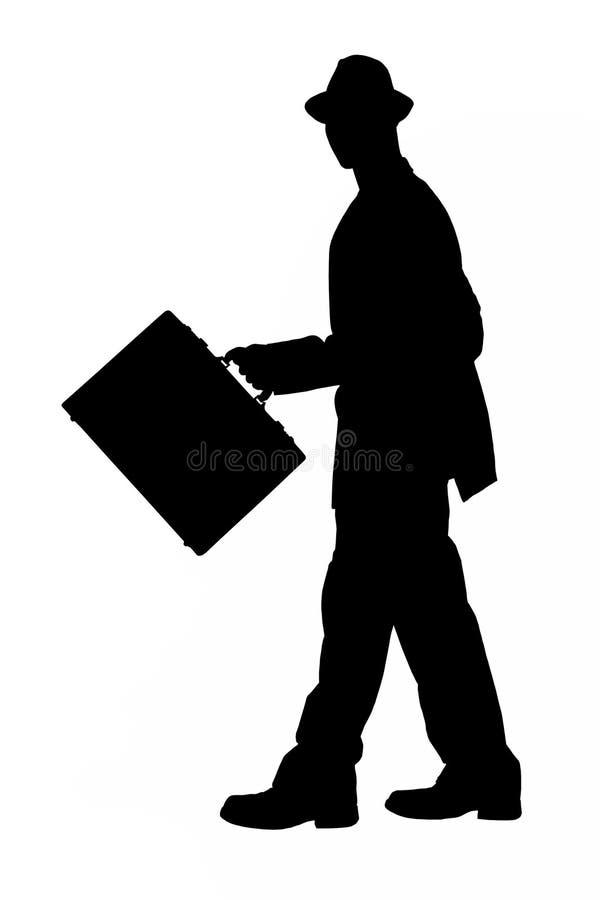 Silhueta com o trajeto de grampeamento do homem de negócio com pasta e