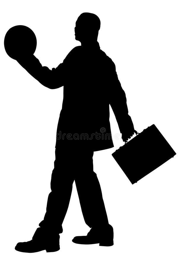 Silhueta com o trajeto de grampeamento do homem de negócio com pasta e ilustração stock