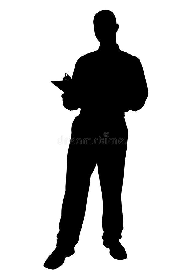Silhueta com o trajeto de grampeamento do homem de negócio com varrão do grampeamento