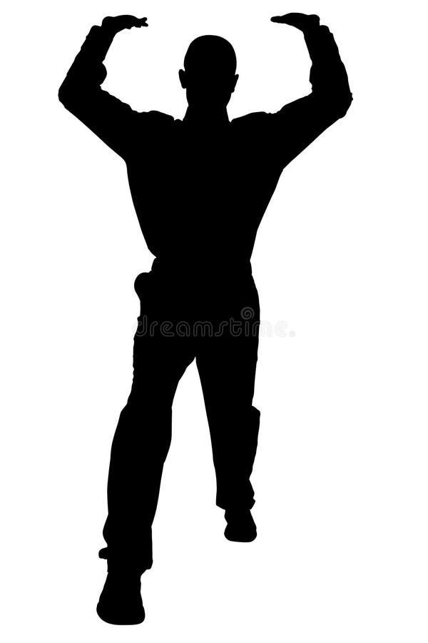Download Silhueta Com O Trajeto De Grampeamento Do Homem Na Posição De Levantamento Ilustração Stock - Ilustração: 200245
