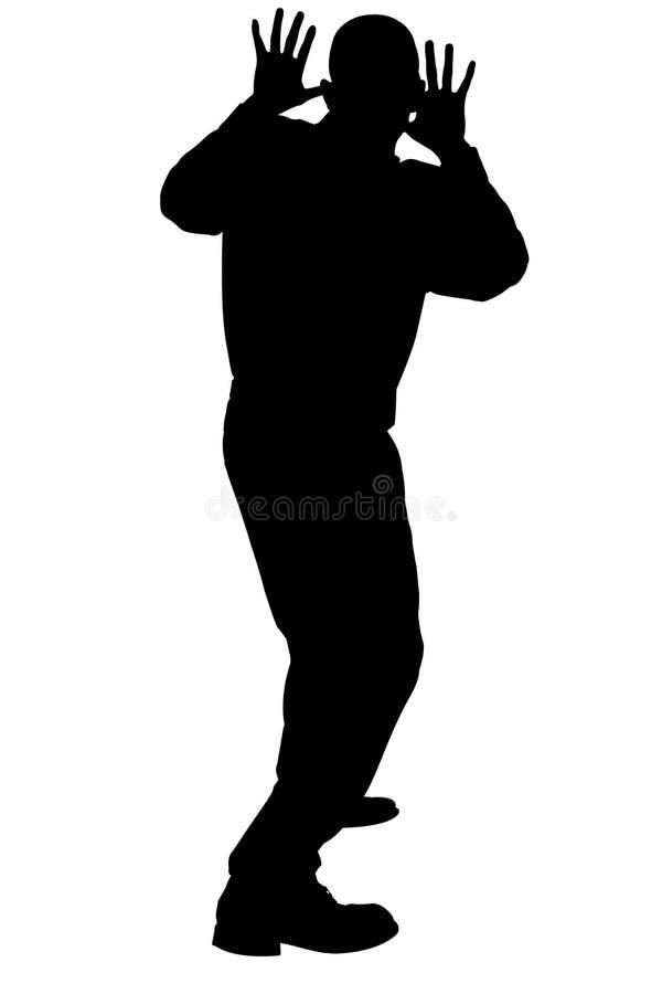 Download Silhueta Com O Trajeto De Grampeamento Do Homem Que Cowering Ilustração Stock - Ilustração: 200247