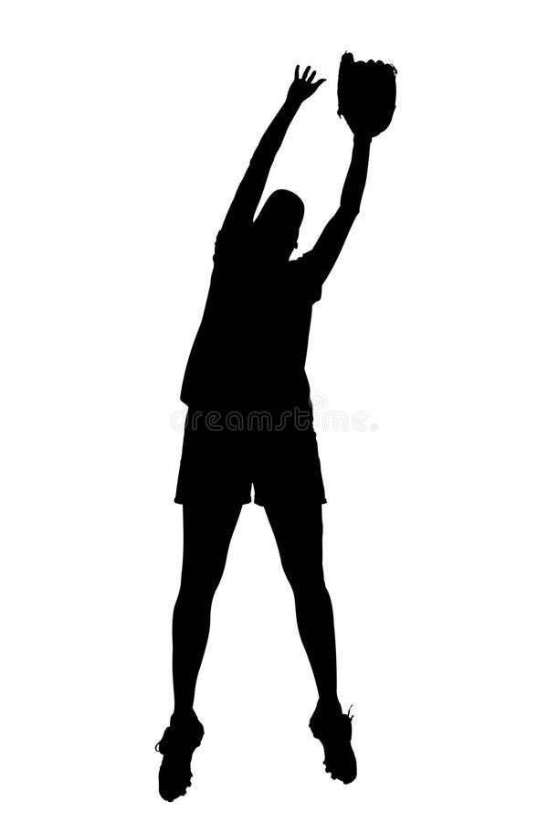Silhueta com o trajeto de grampeamento do jogador fêmea do softball ilustração royalty free