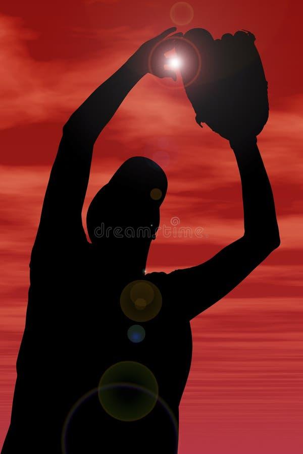 Silhueta com o trajeto de grampeamento do jogador fêmea do softball de encontro ilustração do vetor