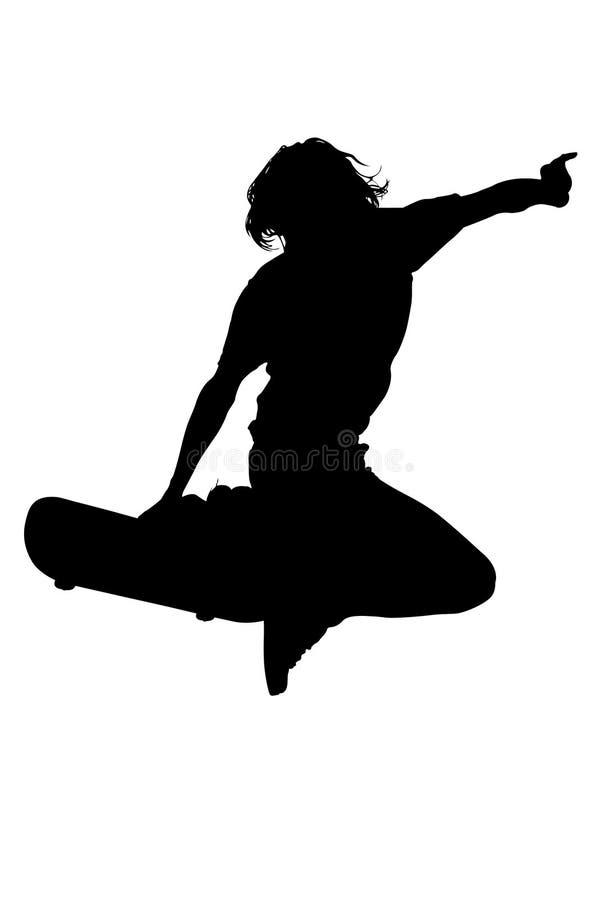 Silhueta com o trajeto de grampeamento do menino adolescente no salto do skate ilustração stock