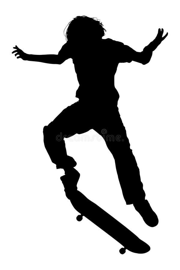 Silhueta com o trajeto de grampeamento do menino adolescente no salto do skate ilustração do vetor