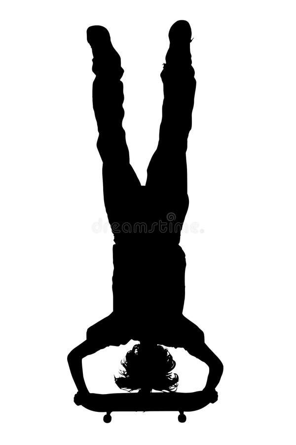 Silhueta com o trajeto de grampeamento do menino adolescente no skate Handstan ilustração royalty free