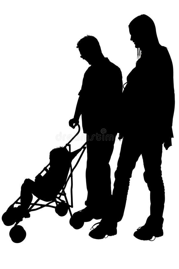 Silhueta Com O Trajeto De Grampeamento Do Paizinho E Do Passeante Da Mamã Imagem de Stock