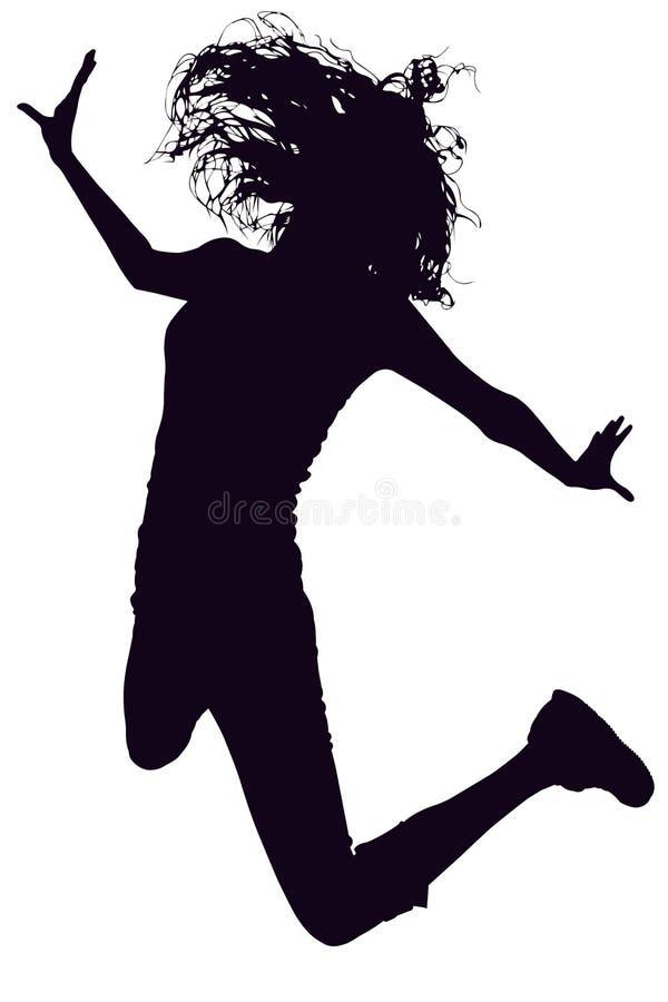 Silhueta com o trajeto de grampeamento do salto da mulher imagens de stock royalty free