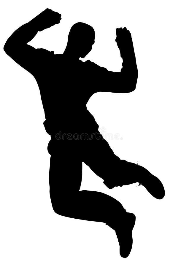 Silhueta com o trajeto de grampeamento do salto do homem ilustração stock
