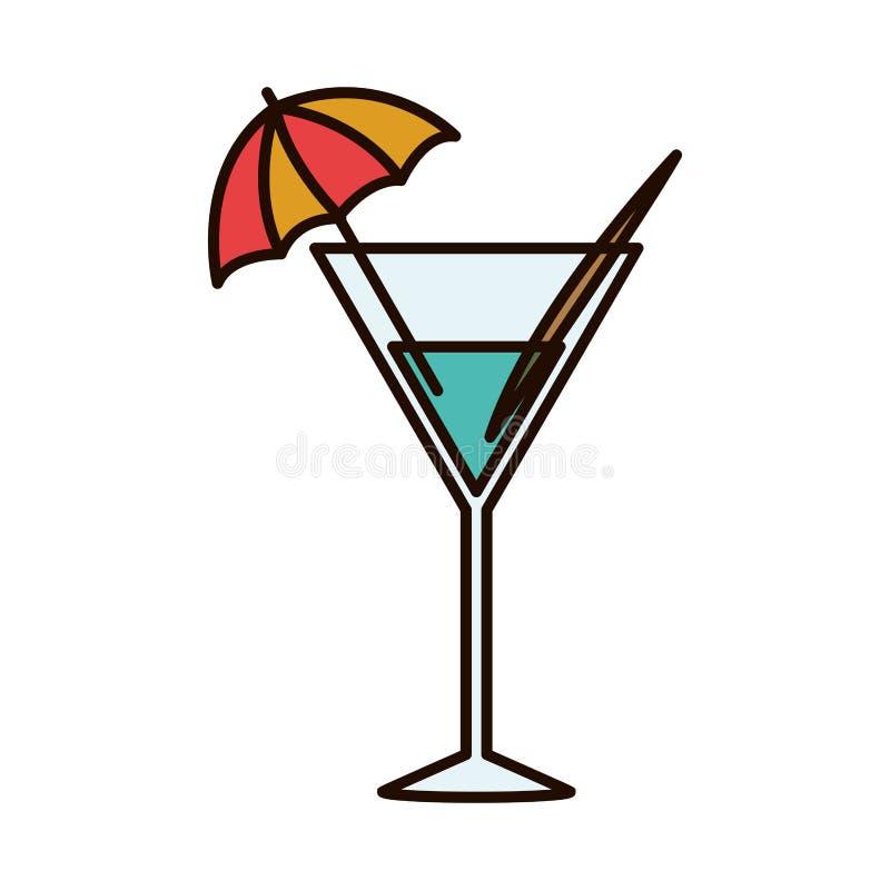 Silhueta com vidro de cocktail da bebida ilustração stock