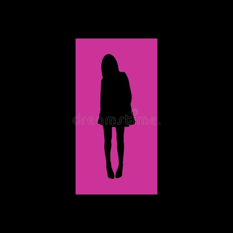 Silhueta cor-de-rosa da menina no vetor foto de stock royalty free