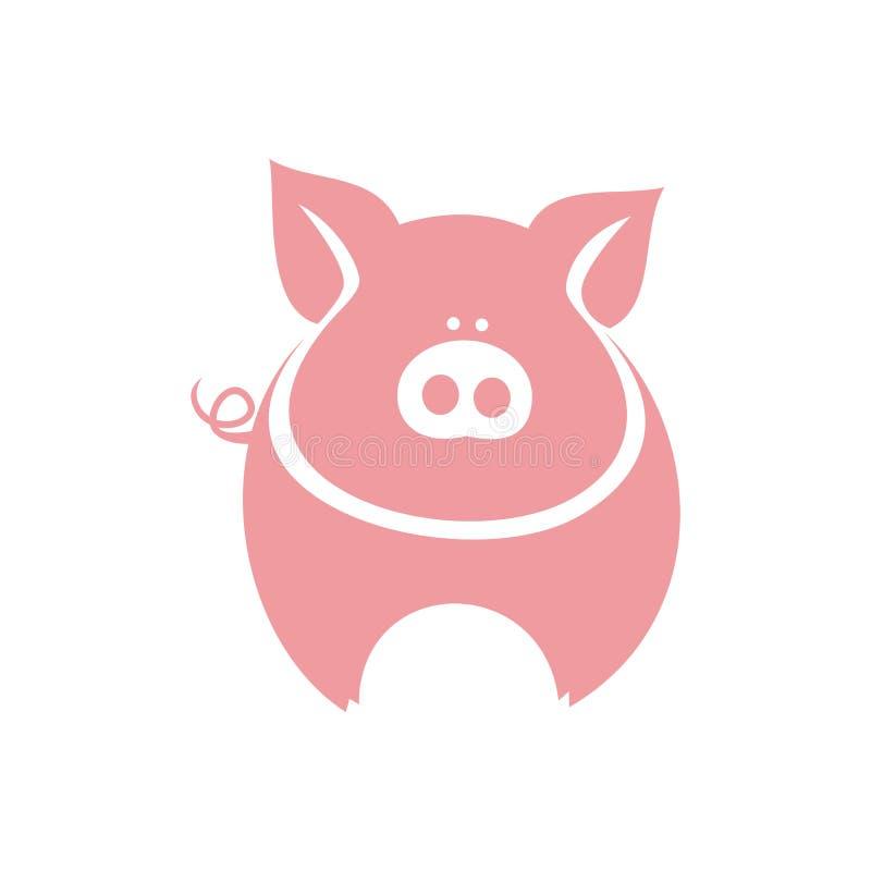 Silhueta cor-de-rosa do porco em um fundo branco fotografia de stock