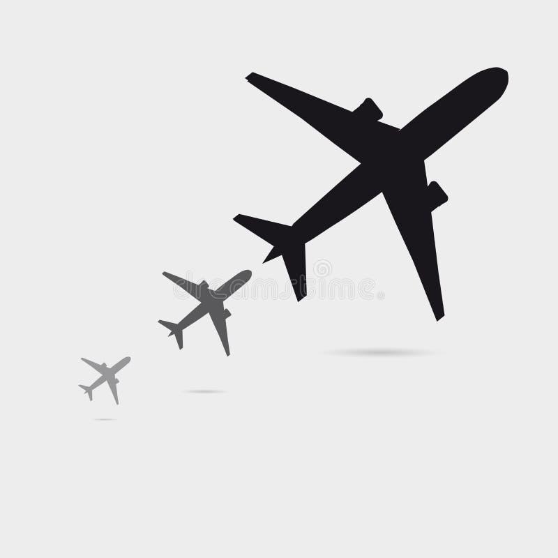 A silhueta crescente do avião três com pouca sombra, pode ser usada como um cartaz preto ilustração do vetor