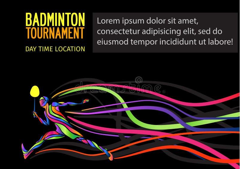 Silhueta criativa de um jogador profissional do badminton ilustração royalty free