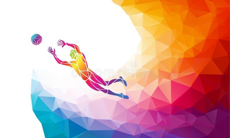 Silhueta criativa do jogador de futebol O salto do goleiros ilustração do vetor