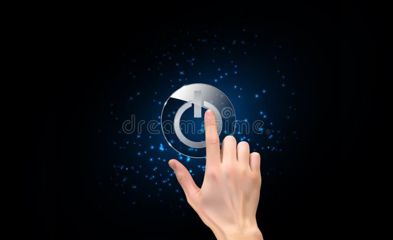 Silhueta 3D realística da mão com o dedo que pressiona um botão do poder Ilustração do vetor ilustração do vetor