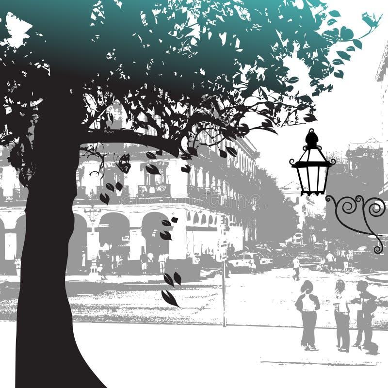 Silhueta da árvore, cena da rua ilustração stock