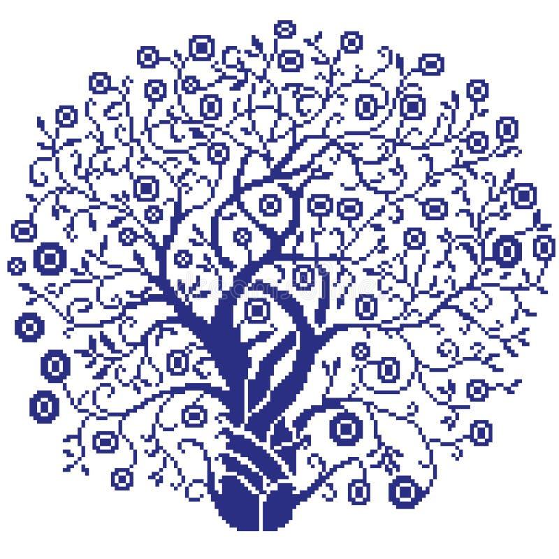 A silhueta da árvore com ondas azuis e flores em um fundo branco pintou quadrados, pixéis Árvore do inverno Ilustração do vetor ilustração do vetor