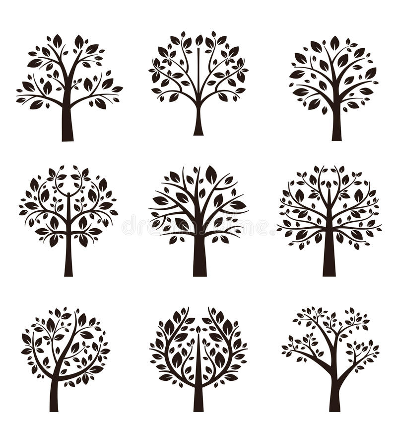 Silhueta da árvore com raizes e ramos ilustração do vetor