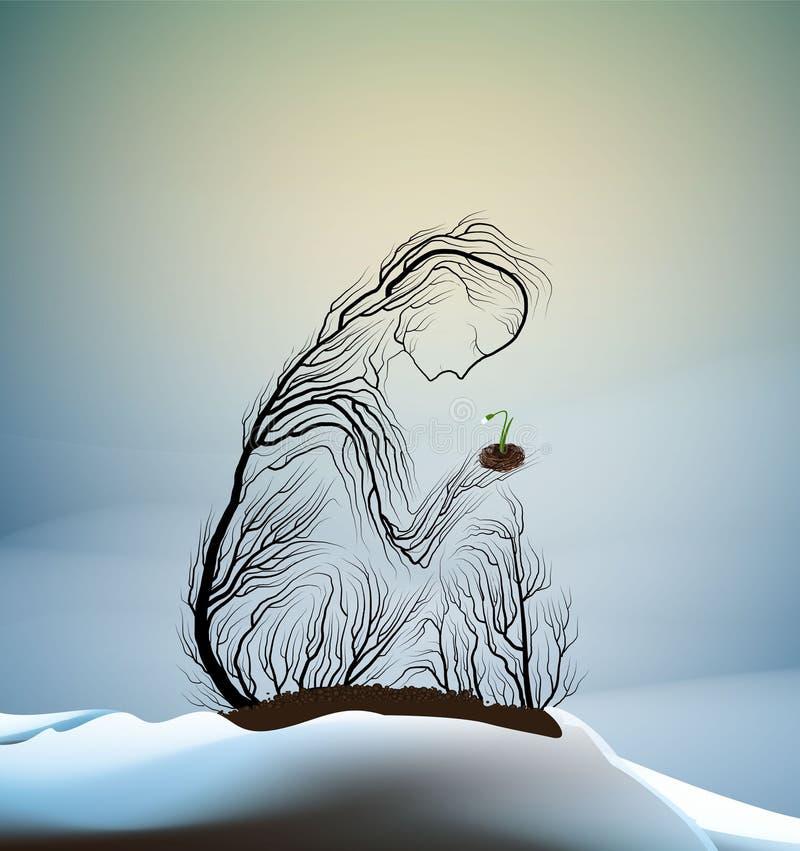 Silhueta da árvore como uma mulher que guarda o primeiro snowdrop, ilustração stock
