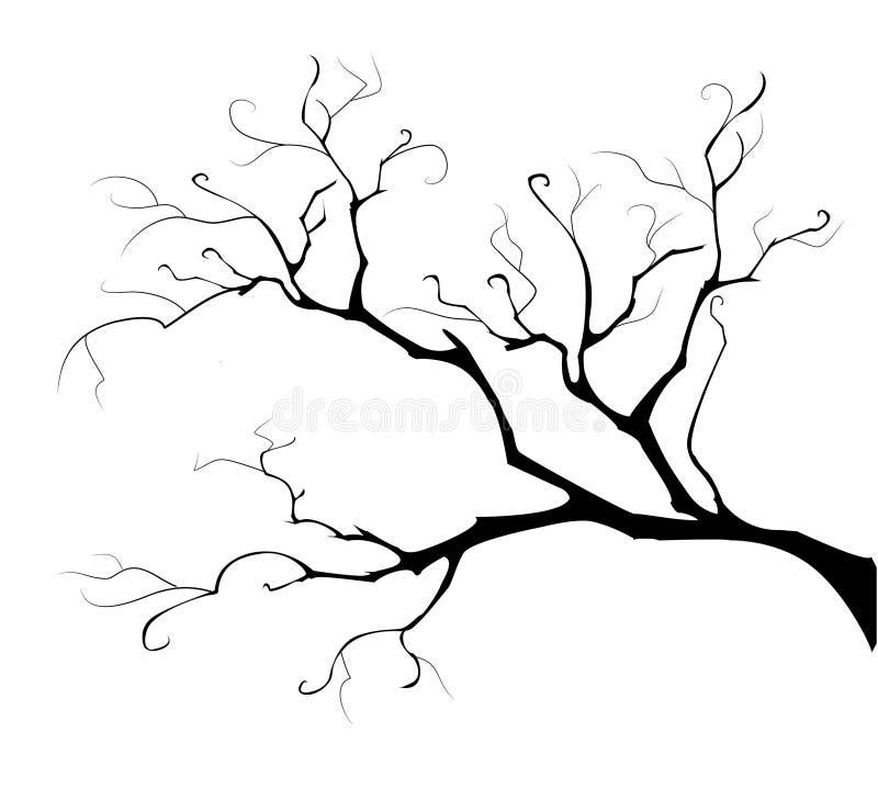 Silhueta da árvore da filial ilustração stock