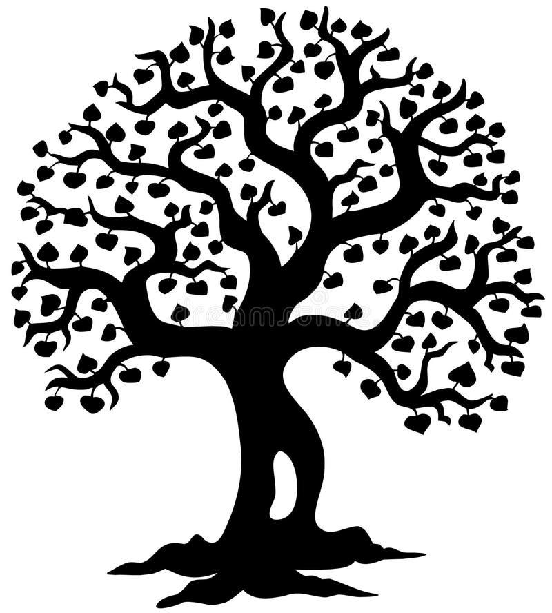 Silhueta da árvore da mola