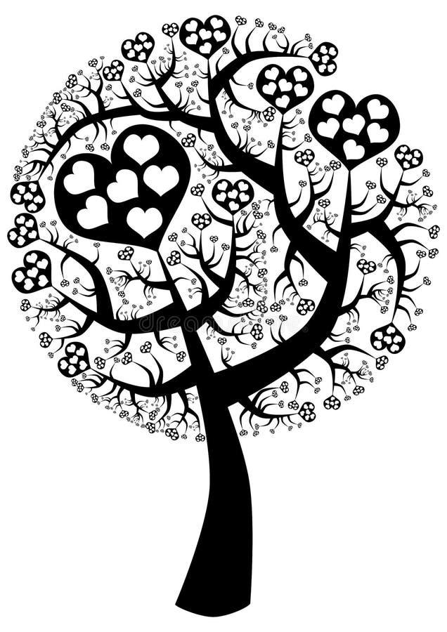 Silhueta da árvore de amor do ponto ilustração royalty free