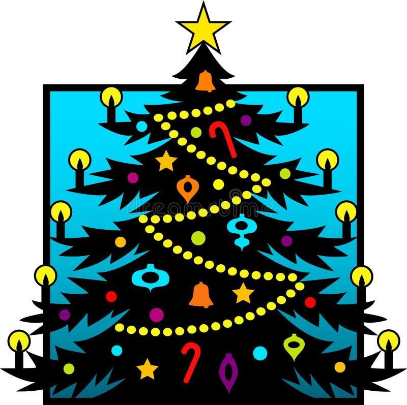 Silhueta da árvore de Natal ilustração stock