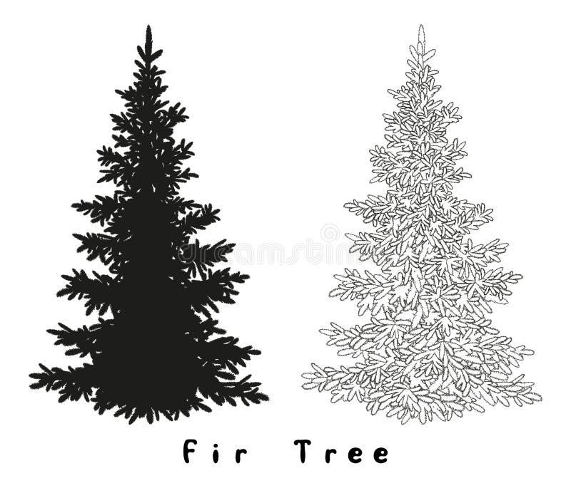 Silhueta da árvore de Natal, contornos e ilustração royalty free