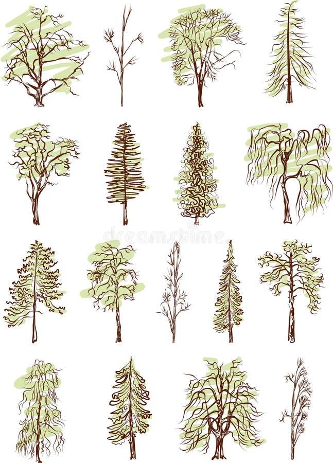 Silhueta da árvore. Hand-drawn ilustração royalty free