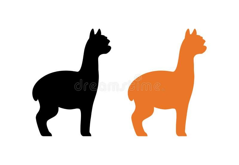 Silhueta da alpaca peruana na cor preta e alaranjada isolada no branco Ilustração do vetor do animal americano peludo ilustração royalty free