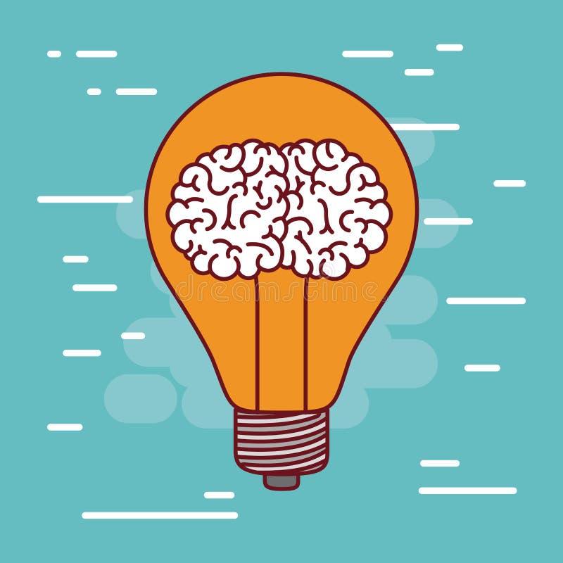 Silhueta da ampola com o cérebro dentro de e o fundo da cor de água-marinha ilustração do vetor